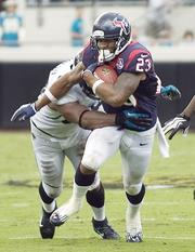 Texans Running Back Arian Foster finished the day with 147 total yards and one touchdown.