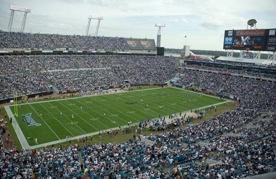 The Jaguars are removing a tarp covering section 403 for Sunday's game against the Chicago Bears.