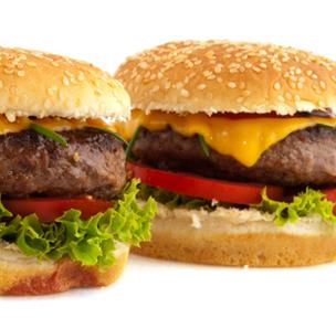 Hamburger and cheeseburger