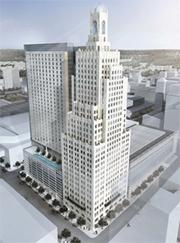 This is an artist's rendering of developer Ron Jury's proposed convention headquarters hotel near the Power & Light Building in downtown Kansas City.