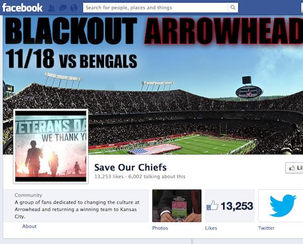 The Kansas City Chiefs won't face a TV blackout for their Sunday game, but the Save Our Chiefs movement is organizing its own blackout.
