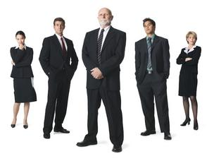 Millennials, old and young workers, employees in suits