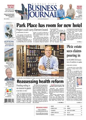 Kansas City Business Journal newspaper front page June 22, 2012
