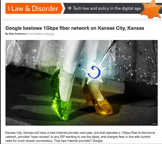 This write-up plays on the Wizard of Oz theme in its coverage of Google picking Kansas City, Kan., for its ultra-fast Internet project. That wasn't an unusual tactic following the Wednesday announcement.