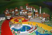Munckins line up for Dorothy's arrival in the Wizard of Oz section of Miniland at Legoland Discovery Center.