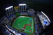 A pinball-like device allows kids to play ball at Kauffman Stadium at Miniland in Legoland Discovery Center.