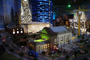 Union Station and Sprint Center are lit up in the nighttime version of Miniland at Legoland Discovery Center.