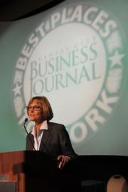 Joyce Hayhow, publisher of the Kansas City Business Journal, congratulates the nominees and honorees.