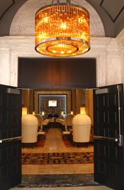 The Ambassador Hotel's marble floors, pictured from the entryway, were restored after years of neglect.