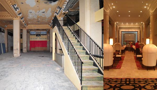 The lobby of the Ambassador Hotel, 1111 Grand Blvd., before and after its renovation. Note the restoration of the molding near the ceiling.