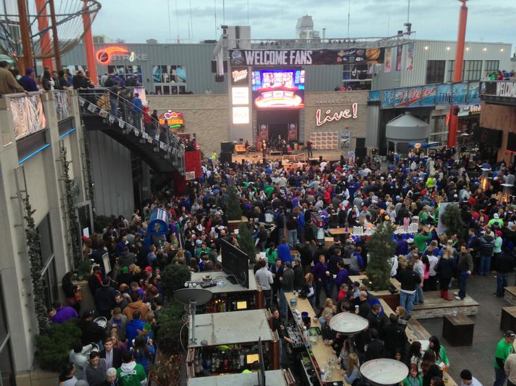 Kansas City Power & Light District executive director Nick Benjamin estimates that about 130,000 people visited the district between Wednesday and Saturday.