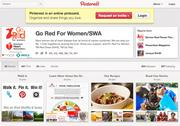 Go Red for Women's Pinterest page offers health tips, as well as boards of red dresses and crafts related to hearts.