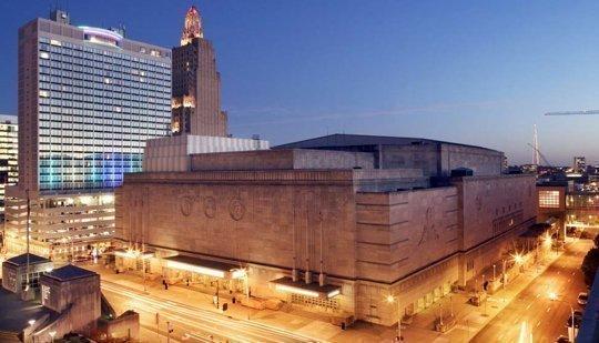 Work is under way on exterior improvements to Municipal Auditorium in Kansas City.