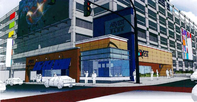This is an artist's rendering of Arvest Bank's proposed new branch on the northwest corner of 13th Street and Grand Boulevard, which is also home to an eight-story, open-air parking garage.
