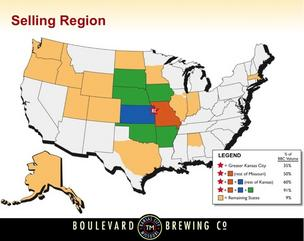 This map shows Kansas City-based Boulevard Brewing Co.'s distribution territory, including the latest addition — Massachusetts.