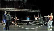 During rope-skipping, a group of 20 Cirque du Soleil acrobats perform a steady stream of solo and duo group jumps and figures.