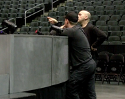 The Cirque du Soleil production crew directs performers.