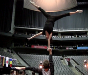 Performers practice their tricks backstage at the Sprint Center.