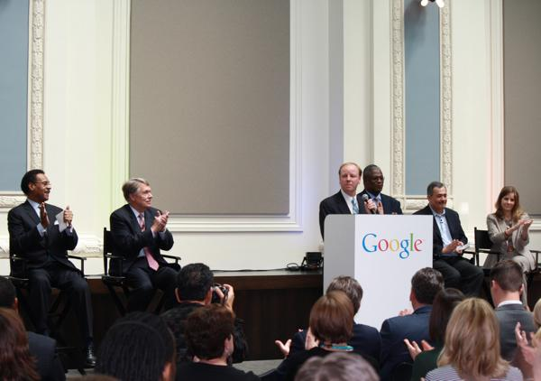 Joe Reardon, mayor/CEO of the Unified Government of Wyandotte County/Kansas City, Kan., speaks at an event about Google's plans to extend its KCK project to Kansas City, Mo. He is surrounded by U.S. Rep. Emanuel Cleaver, D-Kansas City (from left); Great Plains Energy Chairman and CEO Mike Chesser; Kansas City Mayor Sly James; Google Vice President Milo Medin; and Kansas City Mayor Pro Tem Cindy Circo.