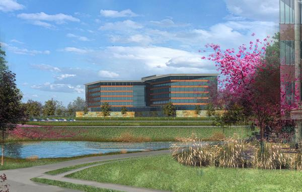 The owners of Leawood's Hallbrook Office Center are considering an expansion — Three Hallbrook Place, pictured in this rendering.