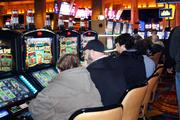 The casino's 2,000 slot machines start to fill up as the public files in.