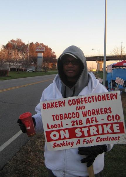 A Hostess Brands worker on strike this week in Kansas City, Mo.