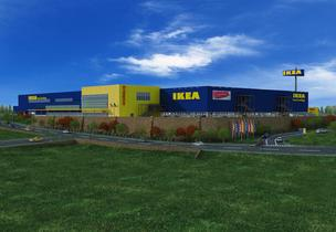 A rendering of the proposed IKEA store in Merriam