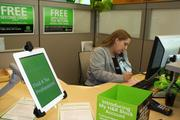 H&R Block unveiled a new location downtown that features state-of-the-art technology, like this iPad that customers can use to check in.