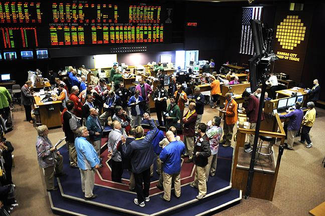 The pit at the Kansas City Board of Trade on a day it was filled with traders.