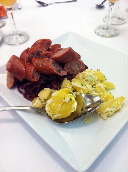 Celina Tio's house-smoked Missouri apple sausage with red cabbage, golden raisins and local potato salad was one of the dishes at a New York City event in which Kansas City chefs tried to drum up national media attention.