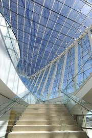 Visitors to Kansas City's new Kauffman Center for the Performing Arts are greeted by a sweeping staircase from Brandmeyer Great Hall to the performance halls.