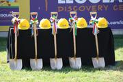 Lego-themed shovels and hard hats stand ready for the groundbreaking.