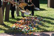Officials prepare their shovels for the groundbreaking of the $15 million Legoland Discovery Center in Kansas City.