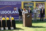 Janine DiGioacchino, U.S. divisional director for Merlin Entertainments Group, talks at the groundbreaking for the company's planned $15 million Legoland Discovery Center in Kansas City.