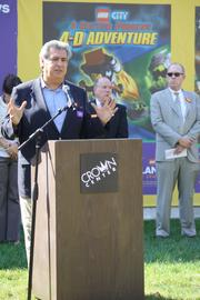Bill Lucas, president of Crown Center Redevelopment Corp., speaks at the groundbreaking for the planned $15 million Legoland Discovery Center at Crown Center in Kansas City.