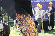 Legos fall to the ground in preparation for the groundbreaking of the $15 million Legoland Discovery Center in Kansas City.