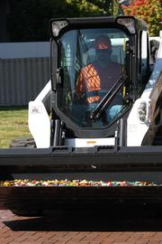 Legos arrive on the scene of the Legoland Discovery Center groundbreaking.