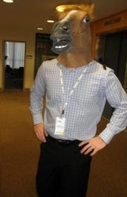 Dr. Jeremy Stevenson, a clinical psychologist in the Rehabilitation Institute of Kansas City's Neuropsychology/Rehabilitation Counseling Department, dresses as a horse for the Halloween party.