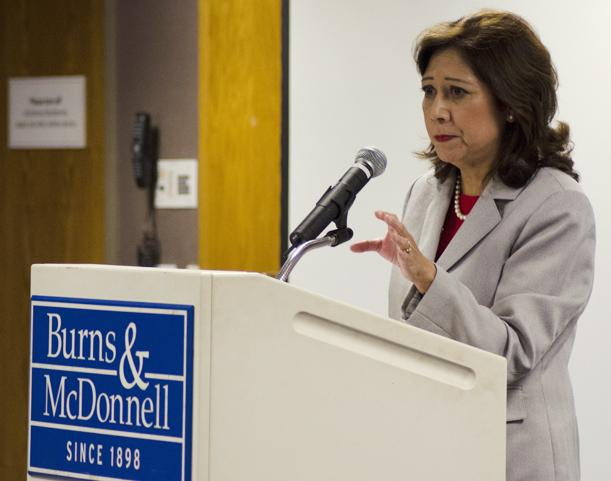 U.S. Labor Secretary Hilda Solis addresses an audience at Burns & McDonnell.