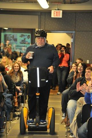 Apple Inc. co-founder Steve Wozniak gave a surprise visit to Perceptive Software's Shawnee offices on Friday — rolling in on a Segway.