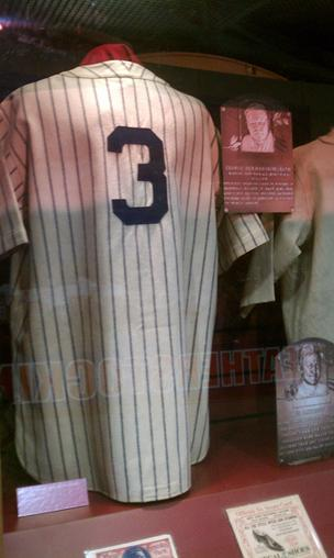 The Hall of Fame area of FanFest includes historical items, such as this jersey worn by Babe Ruth.