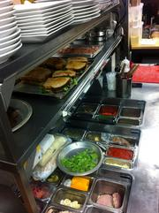 The prep station in the kitchen at Julian.