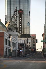 Three key AMC Entertainment properties fill Main Street: the Mainstreet Theatre (foreground), the Midland by AMC and the company's headquarters building (background).