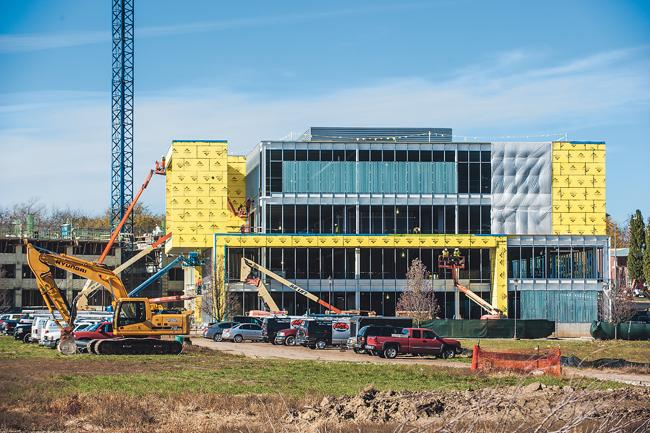 AMC Entertainment Inc.'s new headquarters is under construction at the northwest corner of Park Place in Leawood.