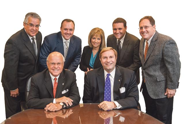 The team at Cohen-Esrey Real Estate Services LLC includes (front row from left) Robert Esrey, chairman and co-founder, and R. Lee Harris, president and CEO. Managing directors are (back row from left) Clint Jayne, John Hinman, Jeanette Jayne, Ryan Huffman and Lenny Jurden.