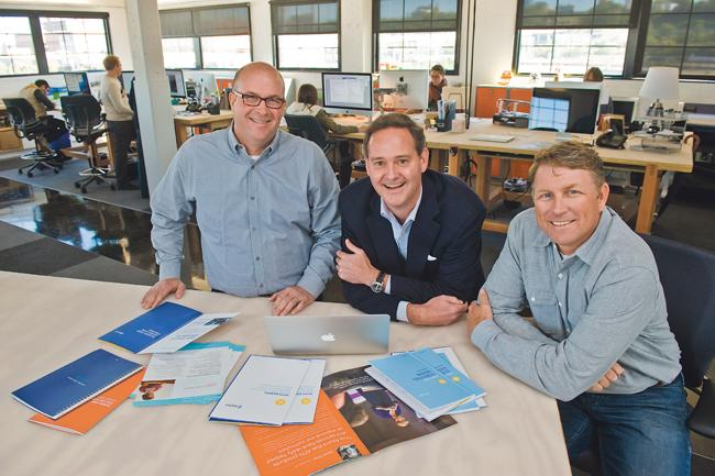 The founders of full-service advertising agency DMH are Paul Diamond (from left), Sean Hogan and Brian Merckens.