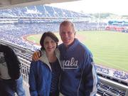 Dan Crabtree, general counsel for the Kansas City Royals, takes in a game with his wife, Maureen Mahoney.