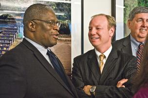 Kansas City Mayor Sly James, Joe Reardon, mayor of the Unified Government of Wyandotte County/Kansas City, Kan.