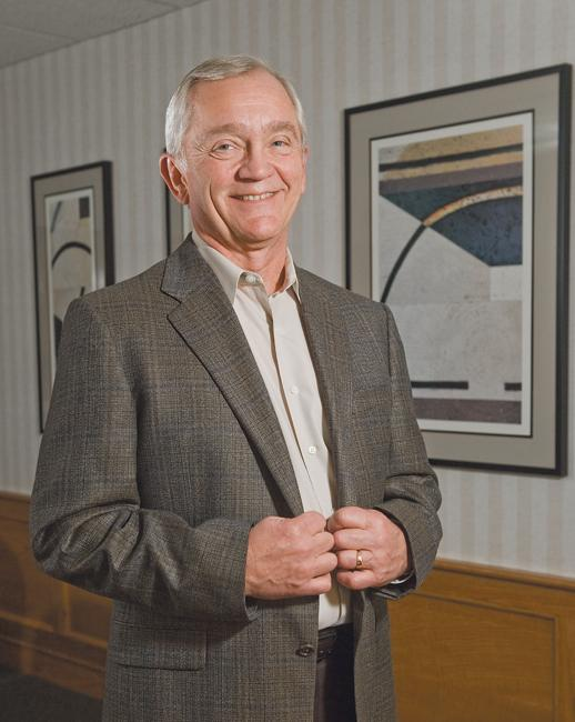 Jerry Hellebusch, president of Morgan Hunter Cos., says the firm's temporary staff placement business helps offset the slow times in its executive recruitment business.