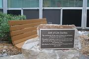 A plaque at a garden in North Kansas City Hospital dedicates the garden to organ donor transplants.